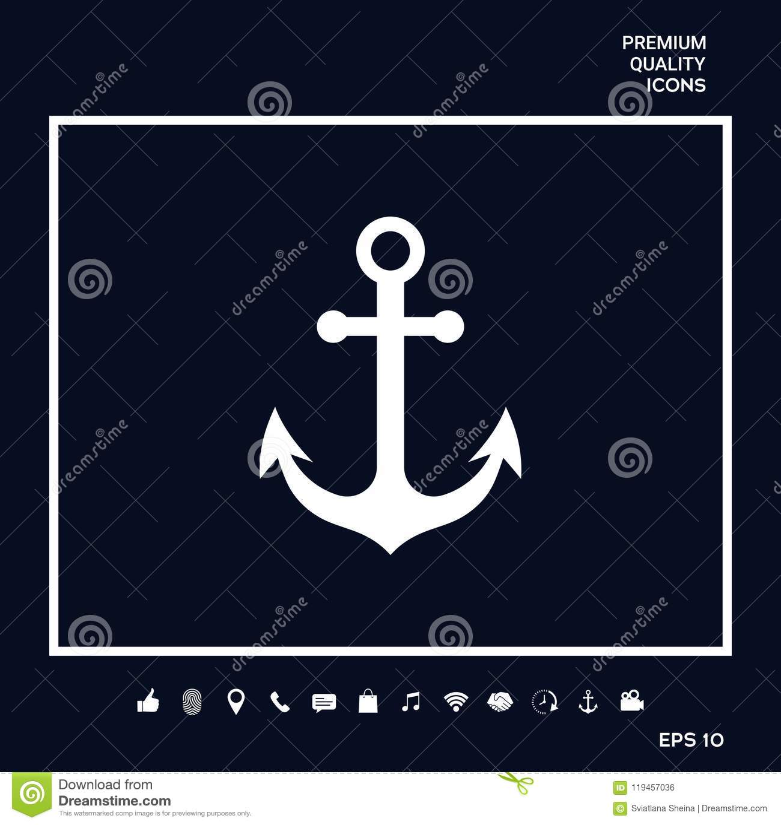 Anchor Icon Symbol Stock Vector Illustration Of Graphic 119457036