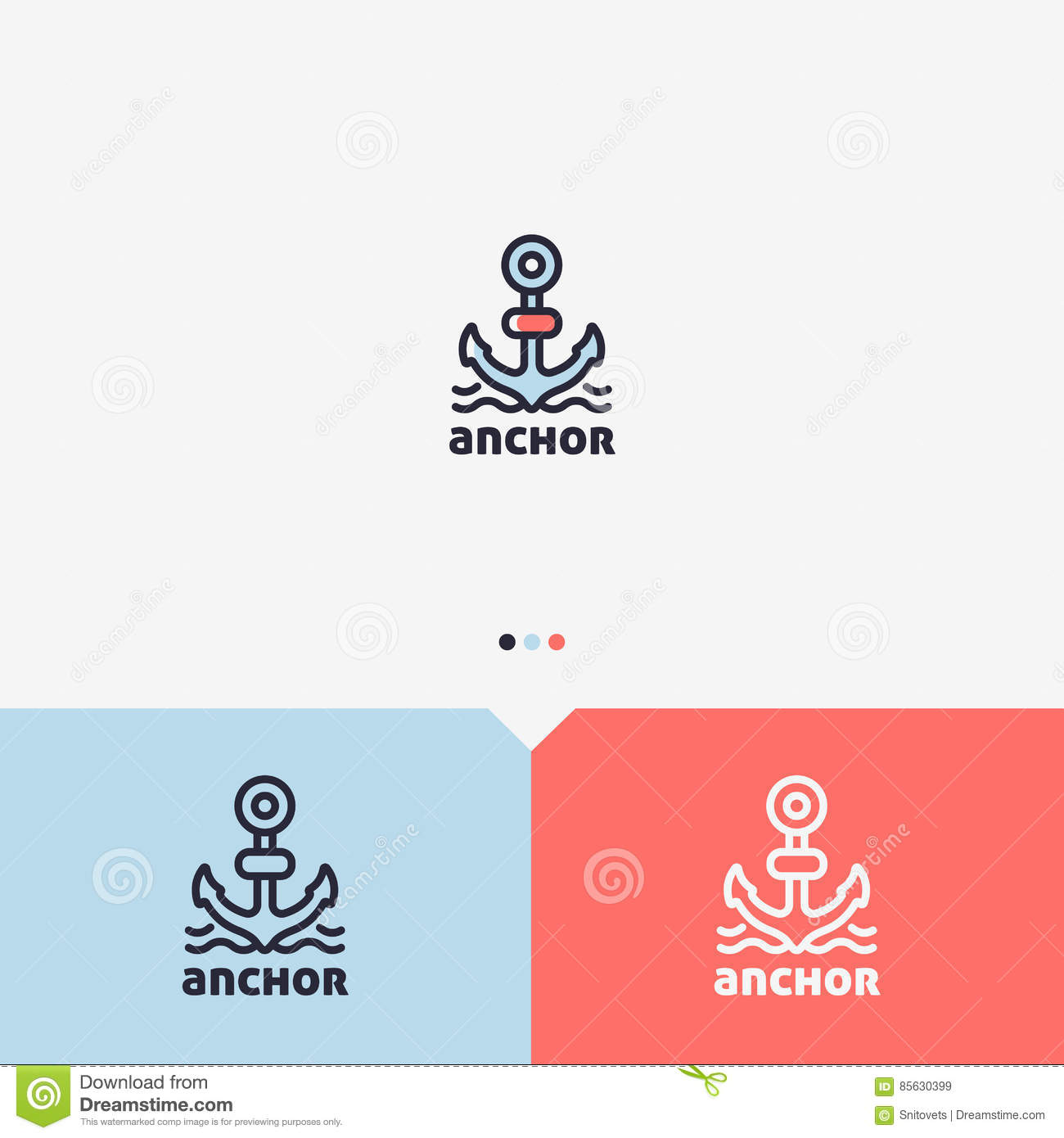 anchor logo design template simple and clean outline style color simple and clean outline style color and monochromatic version