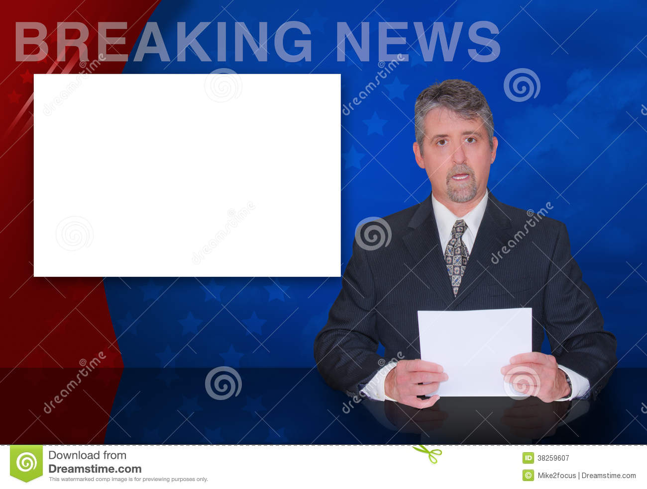 TV Anchor Man BREAKING NEWS Television Reporter Stock Image