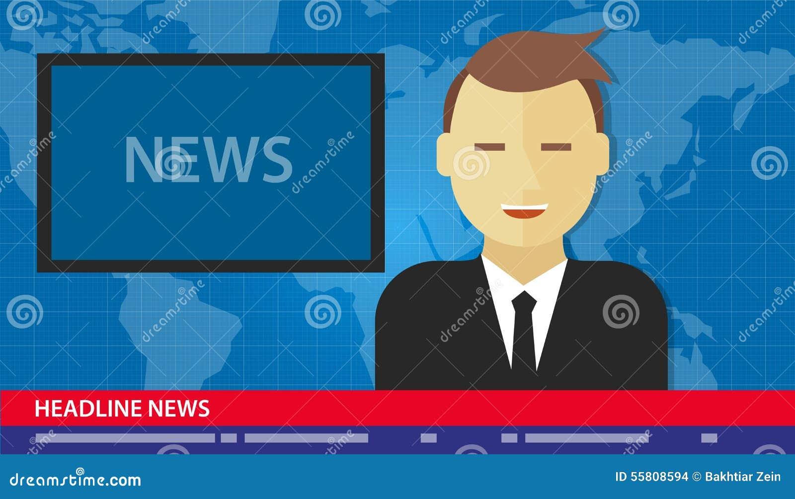 Anchor Man News Headline Breaking Tv Stock Vector ...