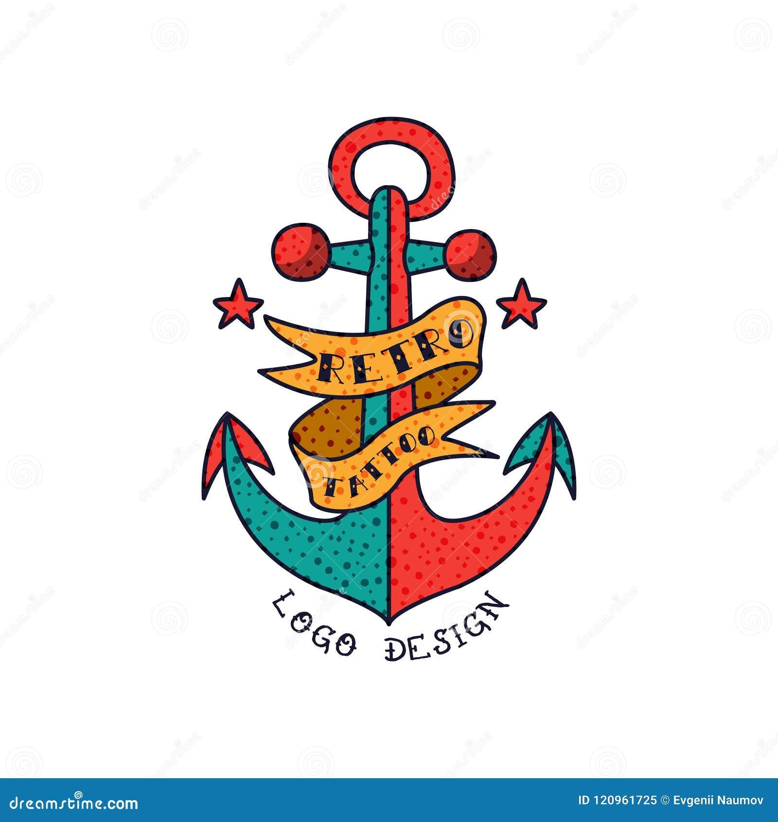 Anchor, Ribbon And Words Retro Tattoo Logo Design, Classic American ...