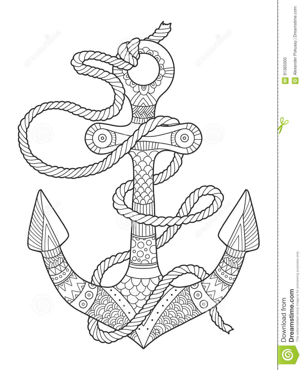 anchor and rope coloring book vector illustration stock