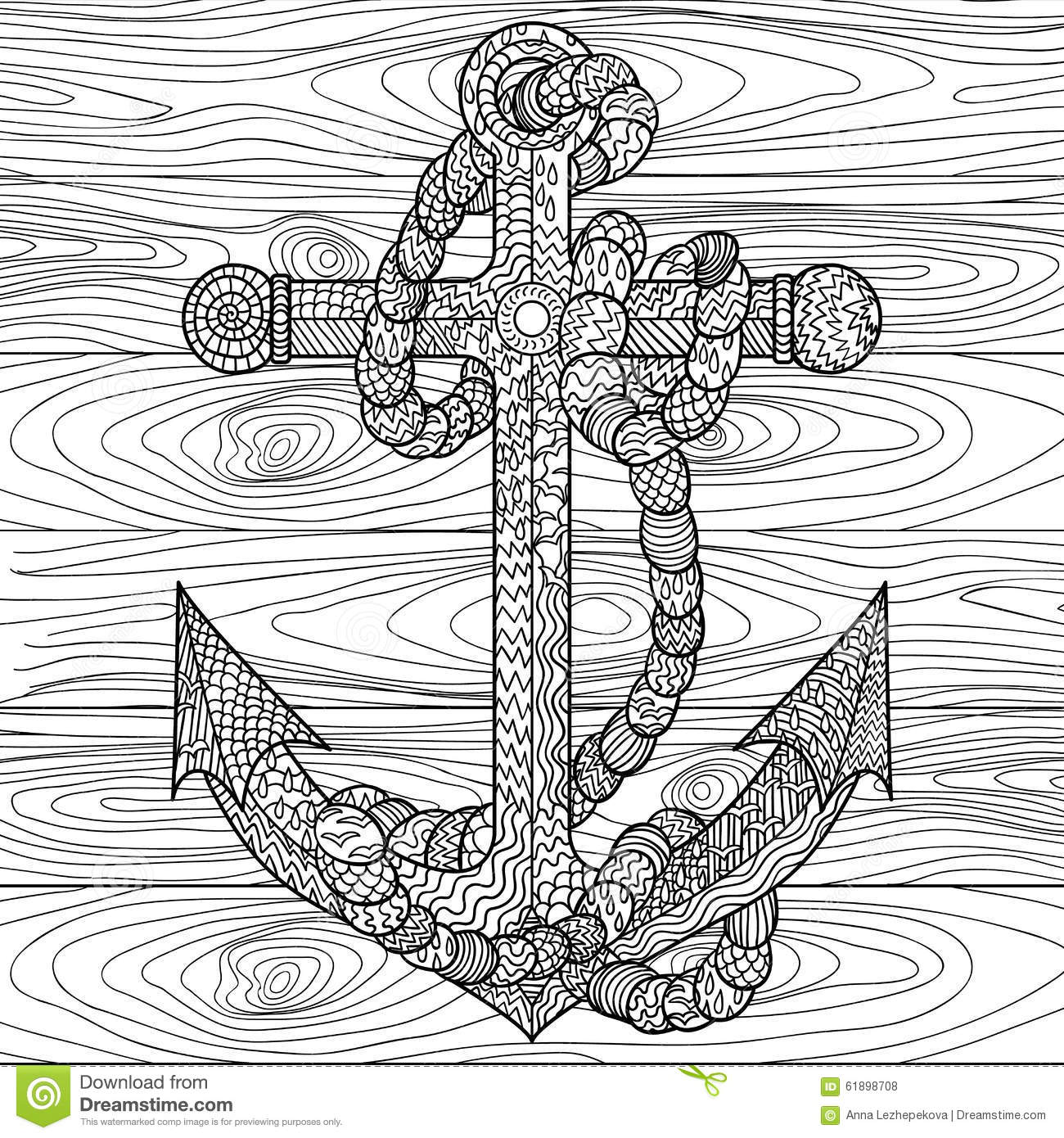 Anchor And Rope In The Zentangle Style Stock Vector