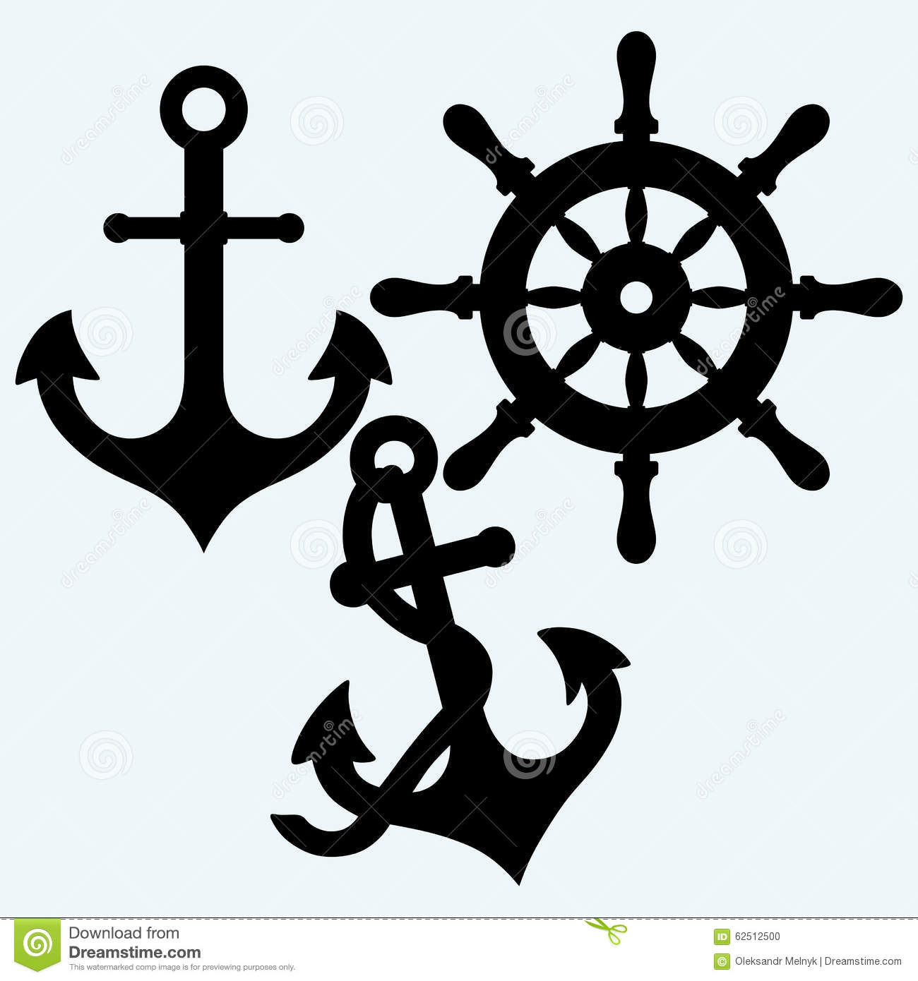 Anchor and rudder. Isolated on blue background. Vector silhouettes.