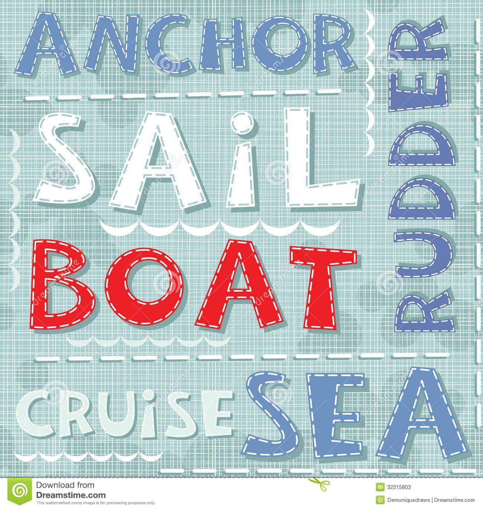 Anchor sea sail boat cruise blue seamless pattern