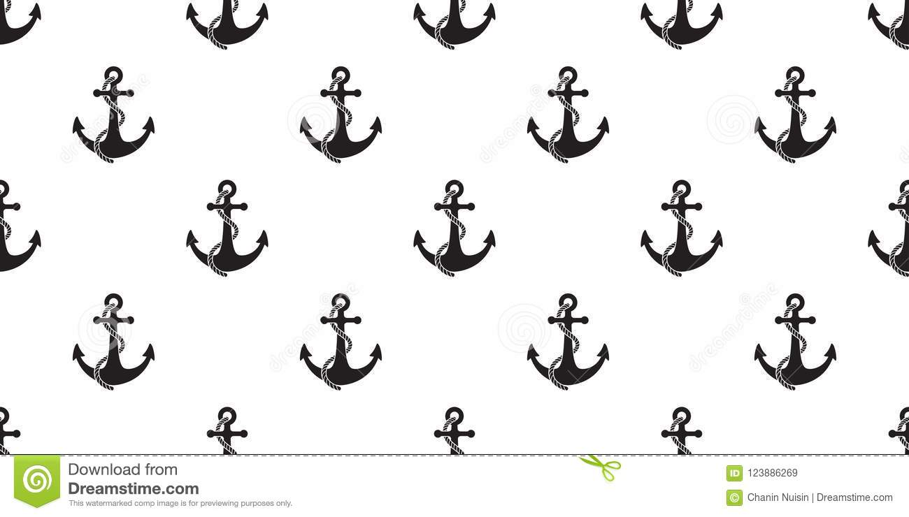 Anchor Seamless Pattern boat vector pirate isolated Nautical maritime sea ocean wallpaper background white