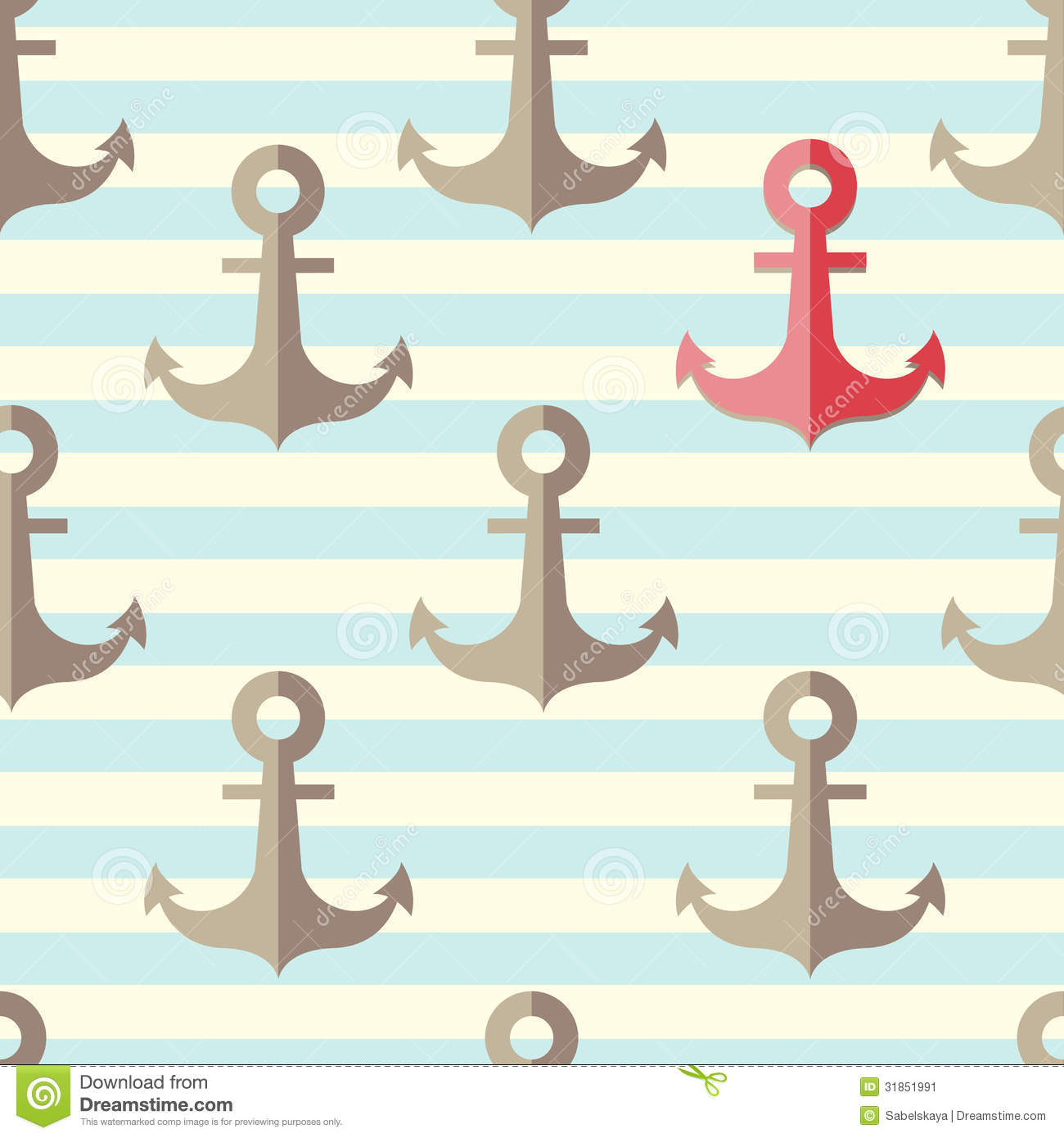 Set of anchors with a lonely red anchor on a striped background