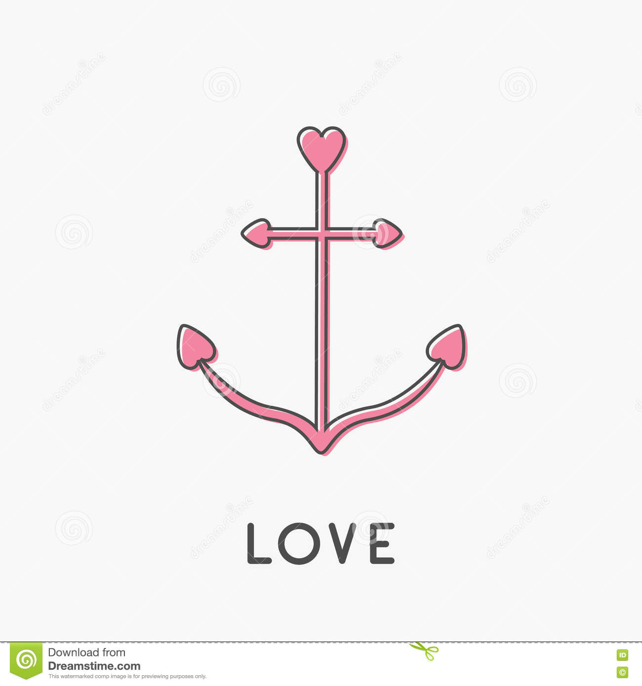 Anchor thin line icon in shapes of heart nautical sign symbol anchor thin line icon in shapes of heart nautical sign symbol ship anchor pink color love greeteng card isolated white backgr biocorpaavc Images
