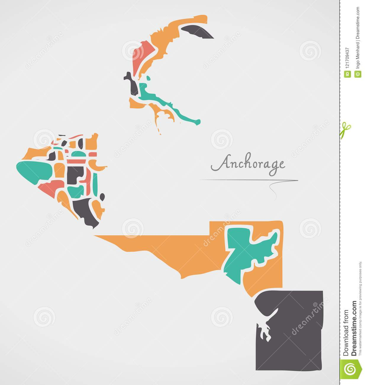 Anchorage Alaska Map With Neighborhoods And Modern Round ...