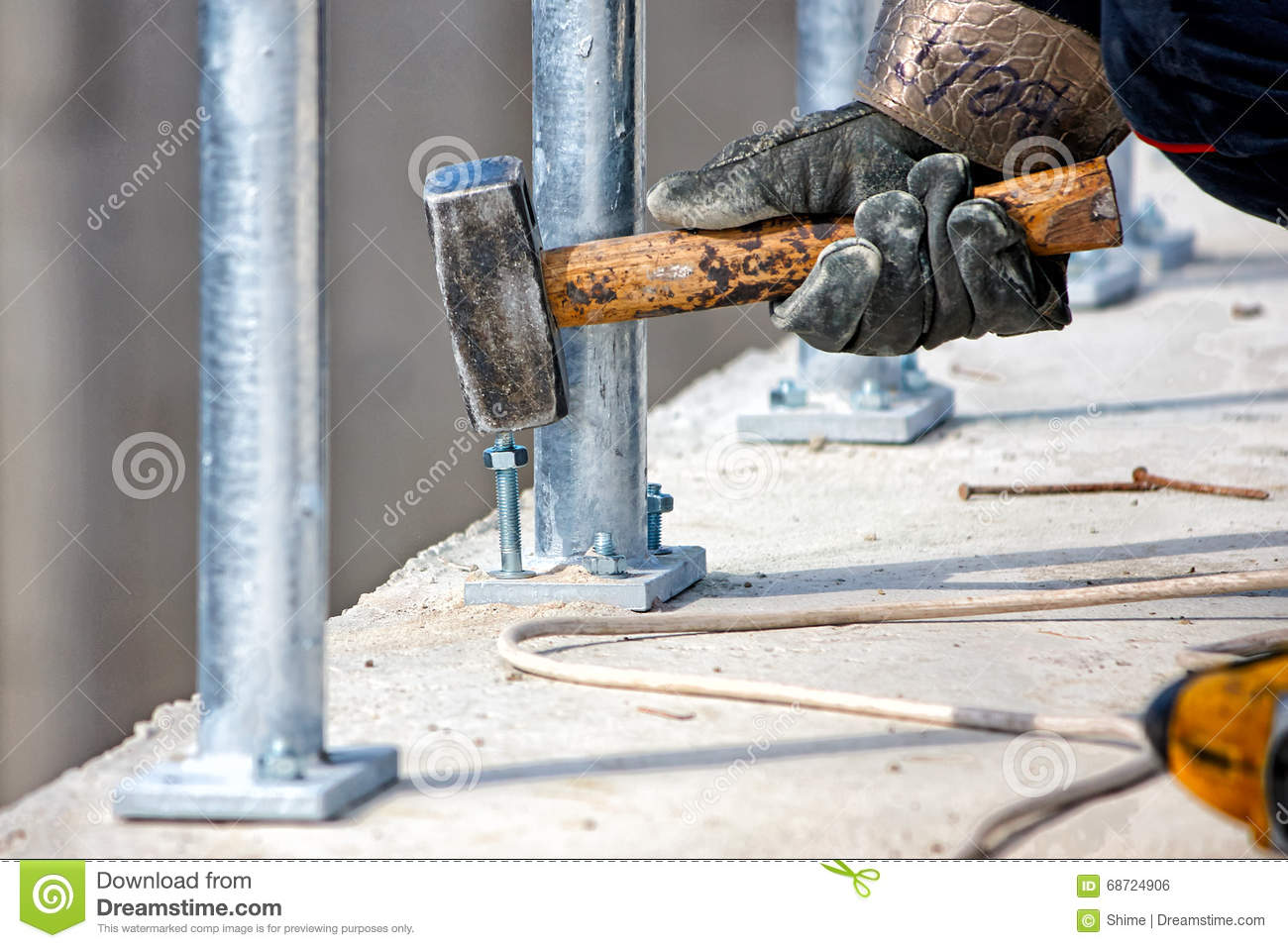 Anchoring In Concrete Stock Photo Image Of Metal