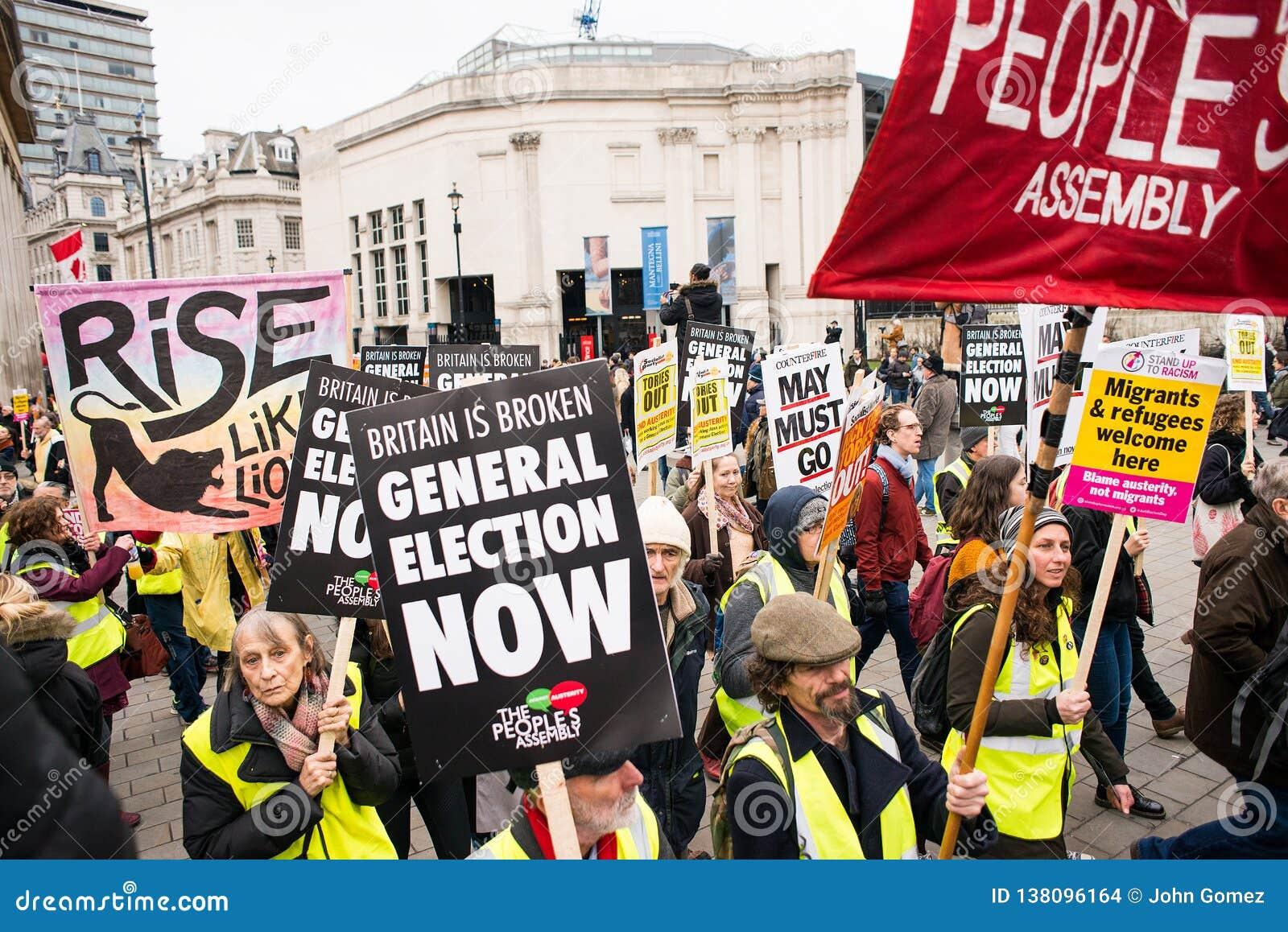 Anci rządowi protestujący przy Brytania Są Łamanego, wybór powszechny demonstracją w Londyn/Teraz