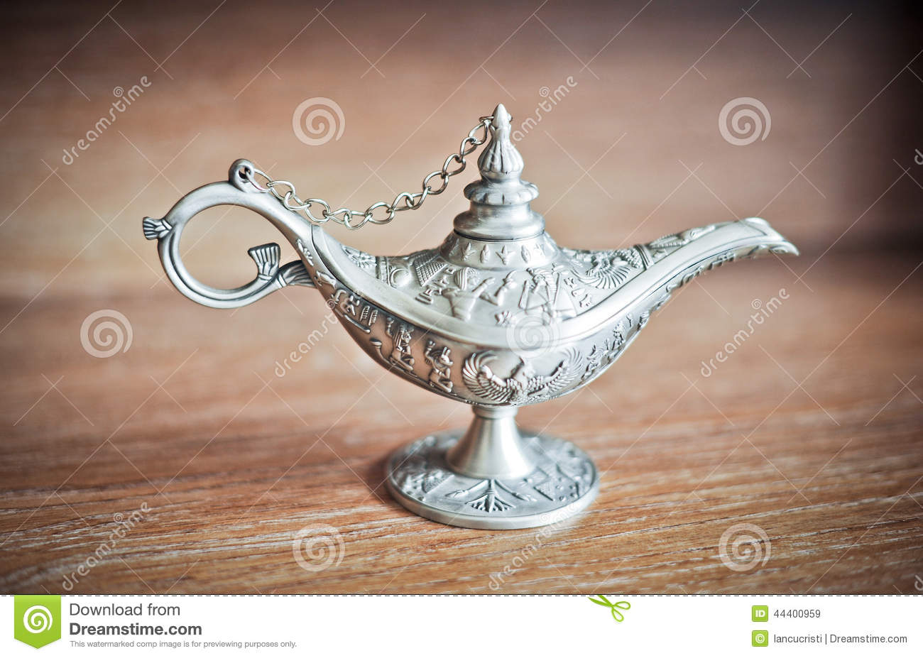 Ancient Aladdin S Magic Lamp Silver Genie Lamp On Wooden