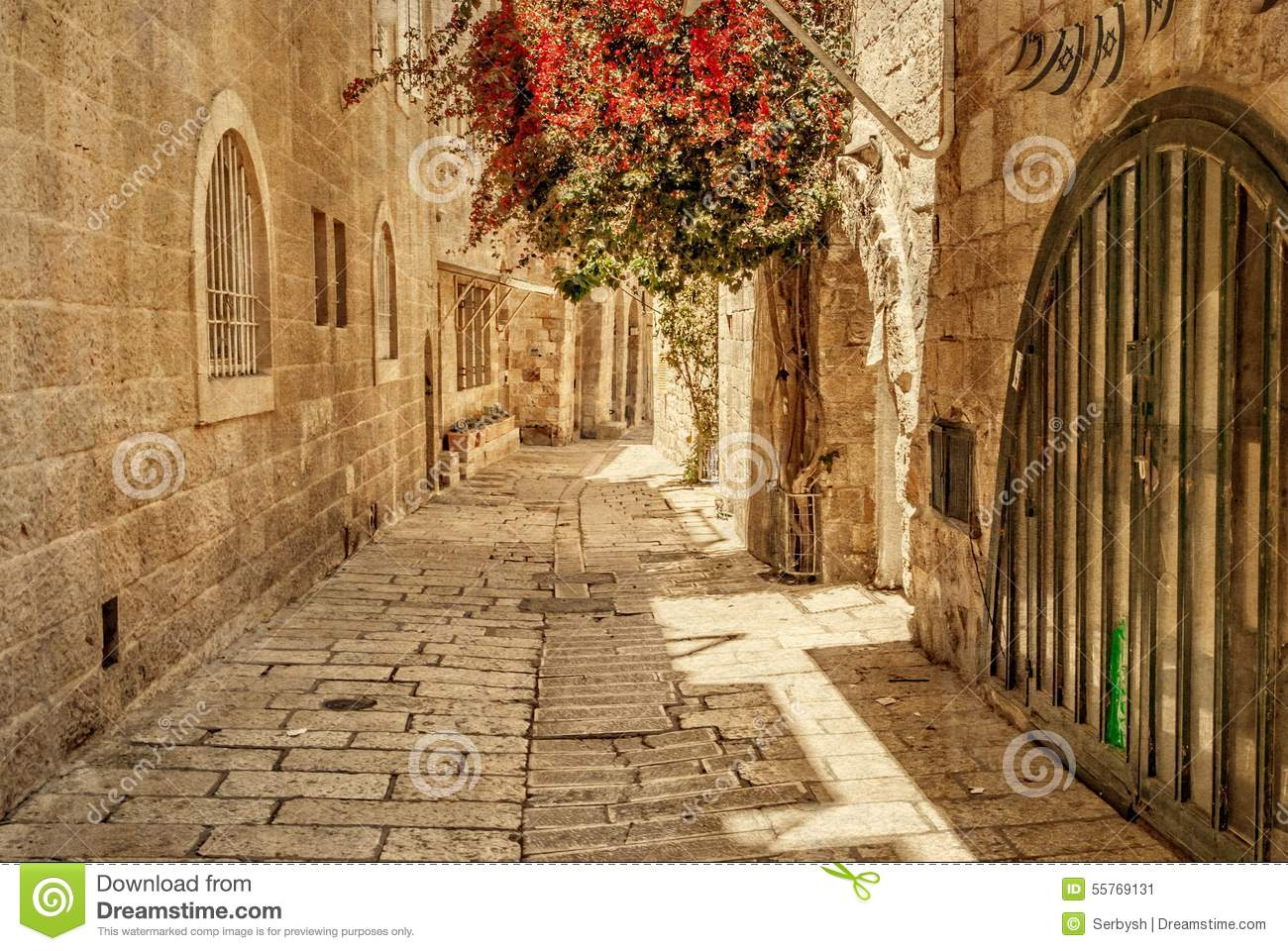 Ancient Alley In Jewish Quarter, Jerusalem. Stock Photo - Image: 55769131