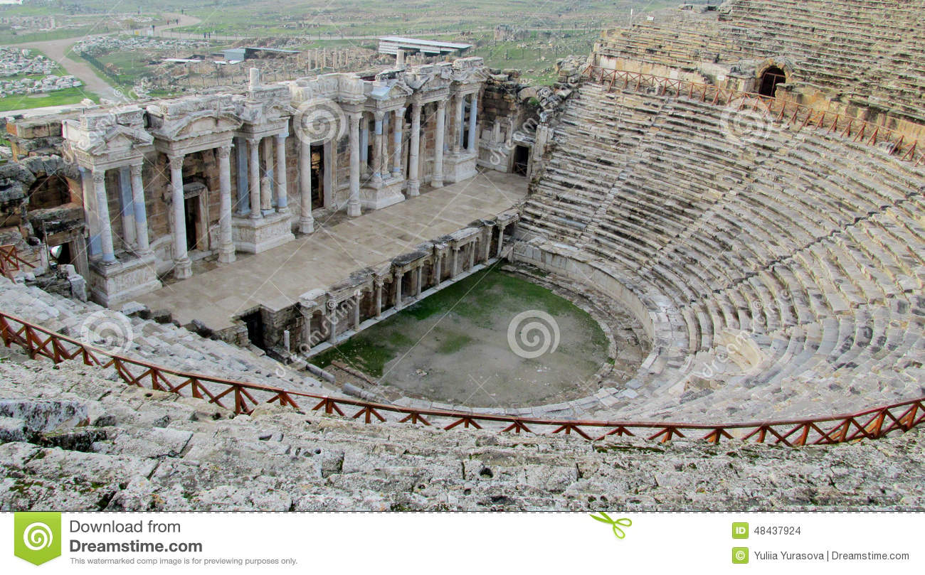 Ancient Antique Amphitheater Ruins Of Hierapolis Stock