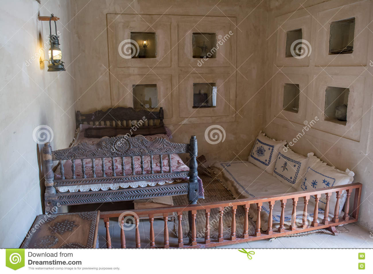 Ancient arabian bedroom with bed and pillows. Ancient Arabian Bedroom With Bed And Pillows Stock Photo   Image