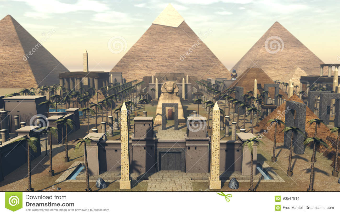 Ancient Architecture In A City Of Egypt 3D Rendering Stock Ancient  Architecture In A City Of