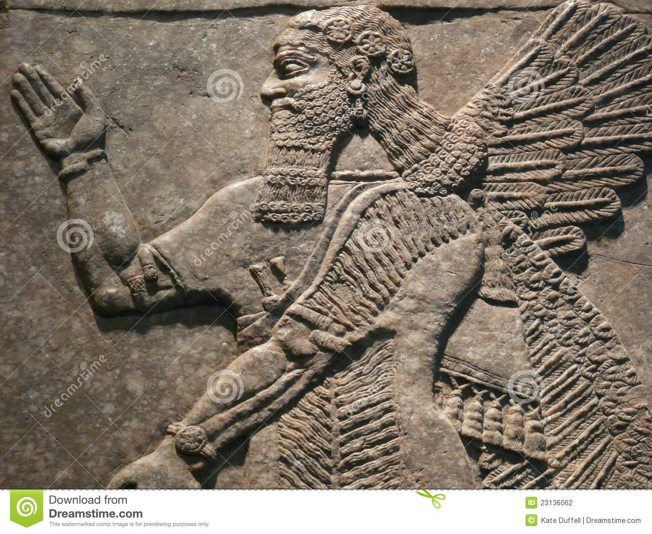 Ancient assyrian wall carvings stock photography image