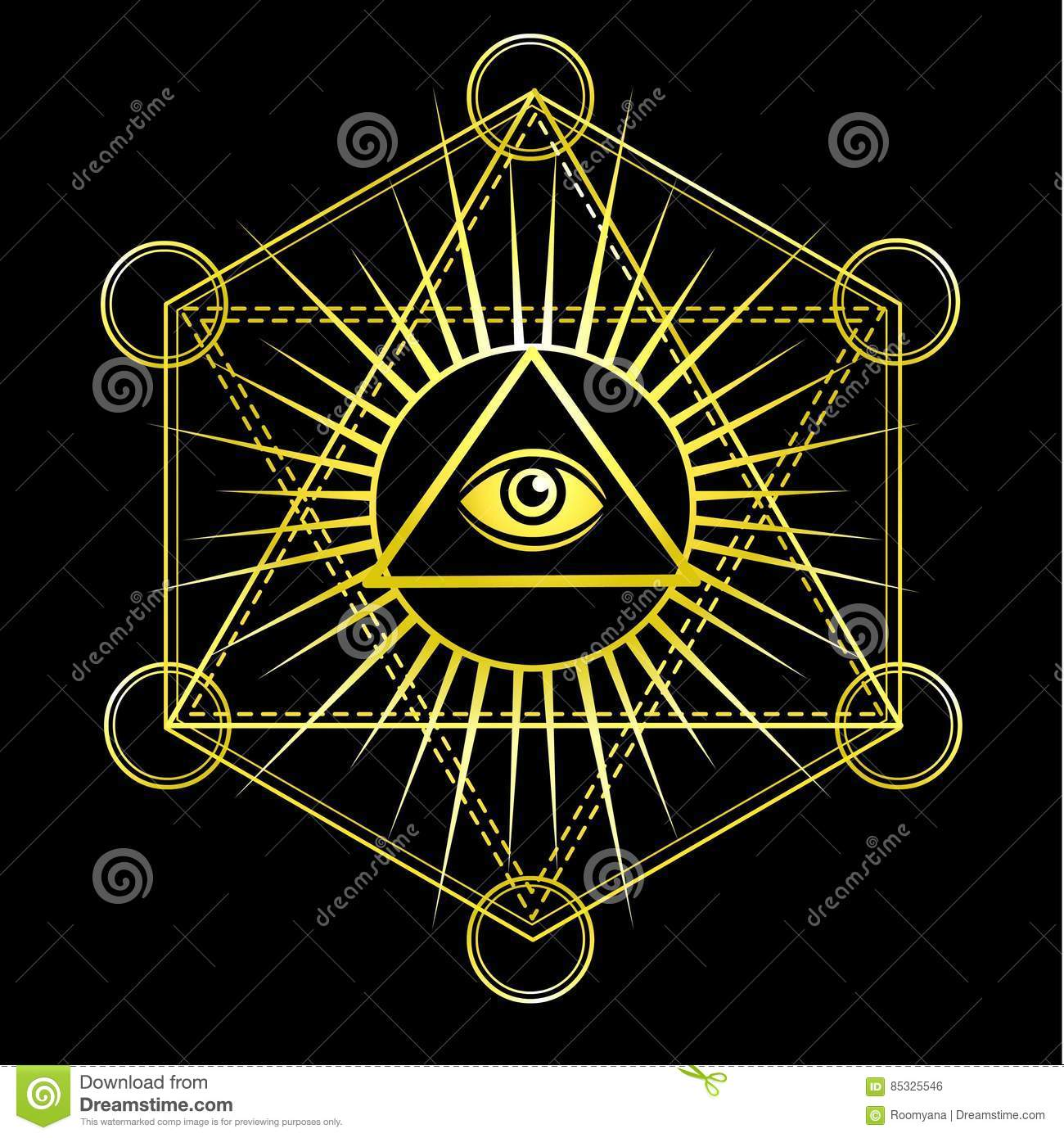 White Occult Hermetic Circle Vector Illustration Stock ...  |Ancient Sacred Geometry