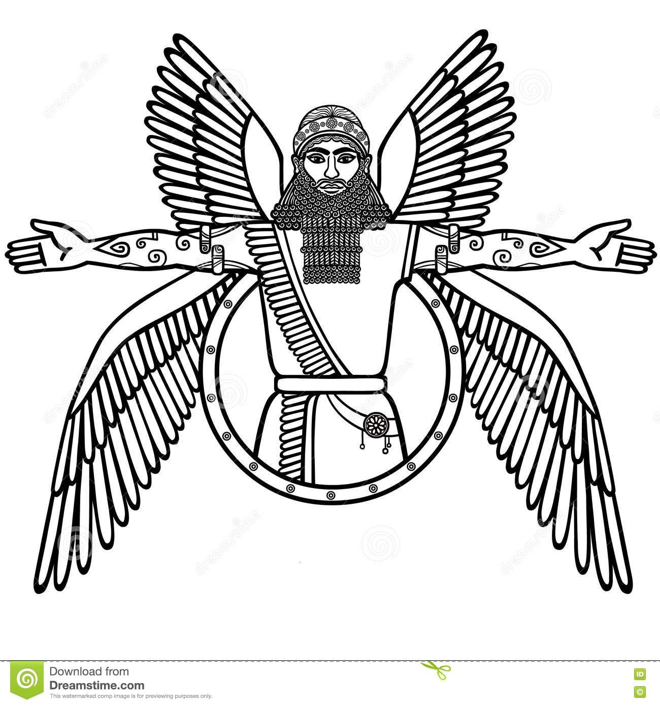 sumerian coloring pages - ancient assyrian winged deity stock vector image 74705498