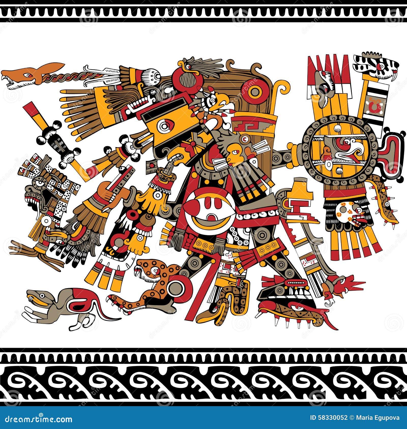 Ancient Aztec God Stock Vector - Image: 58330052