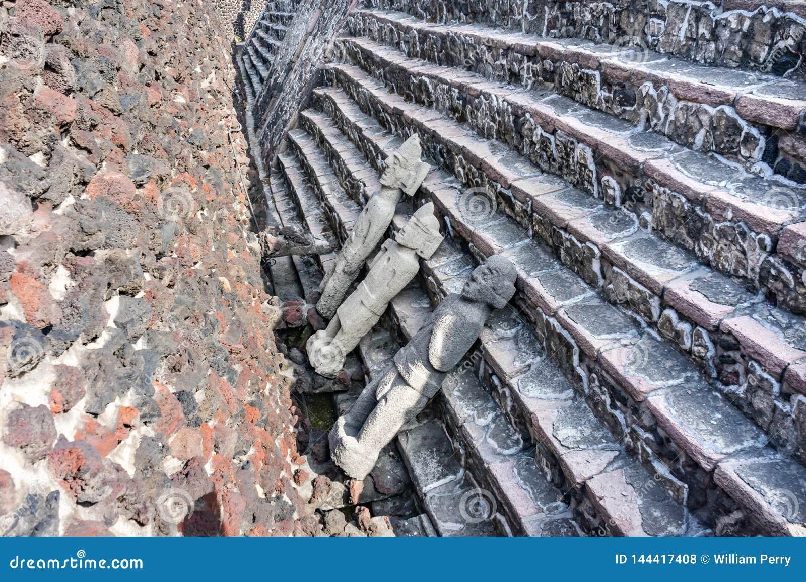 Ancient Aztec Stone Gods Statues Templo Mayor Mexico City Mexico
