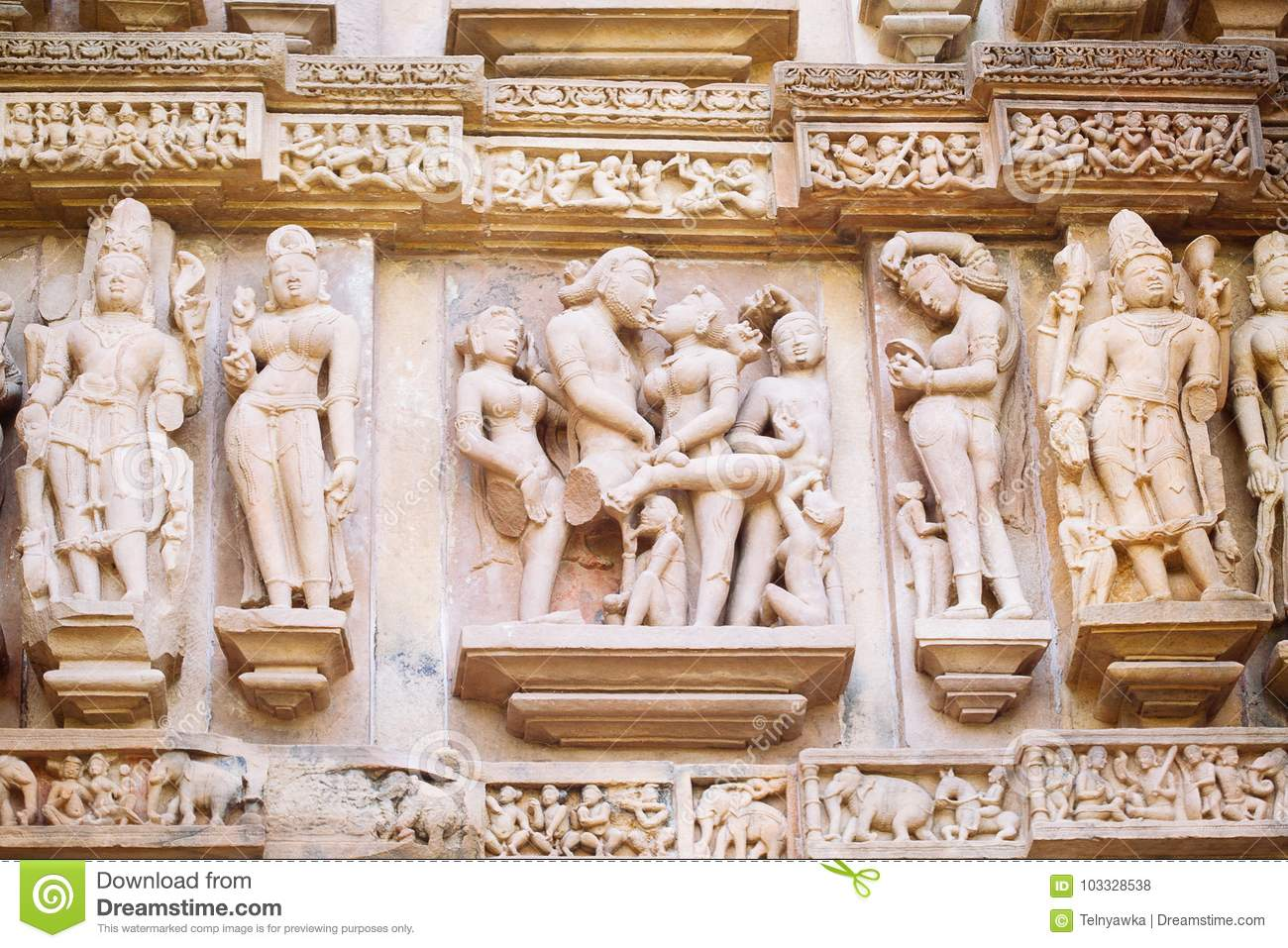 Ancient Bas-relief At Famous Erotic Temple In Khajuraho ...