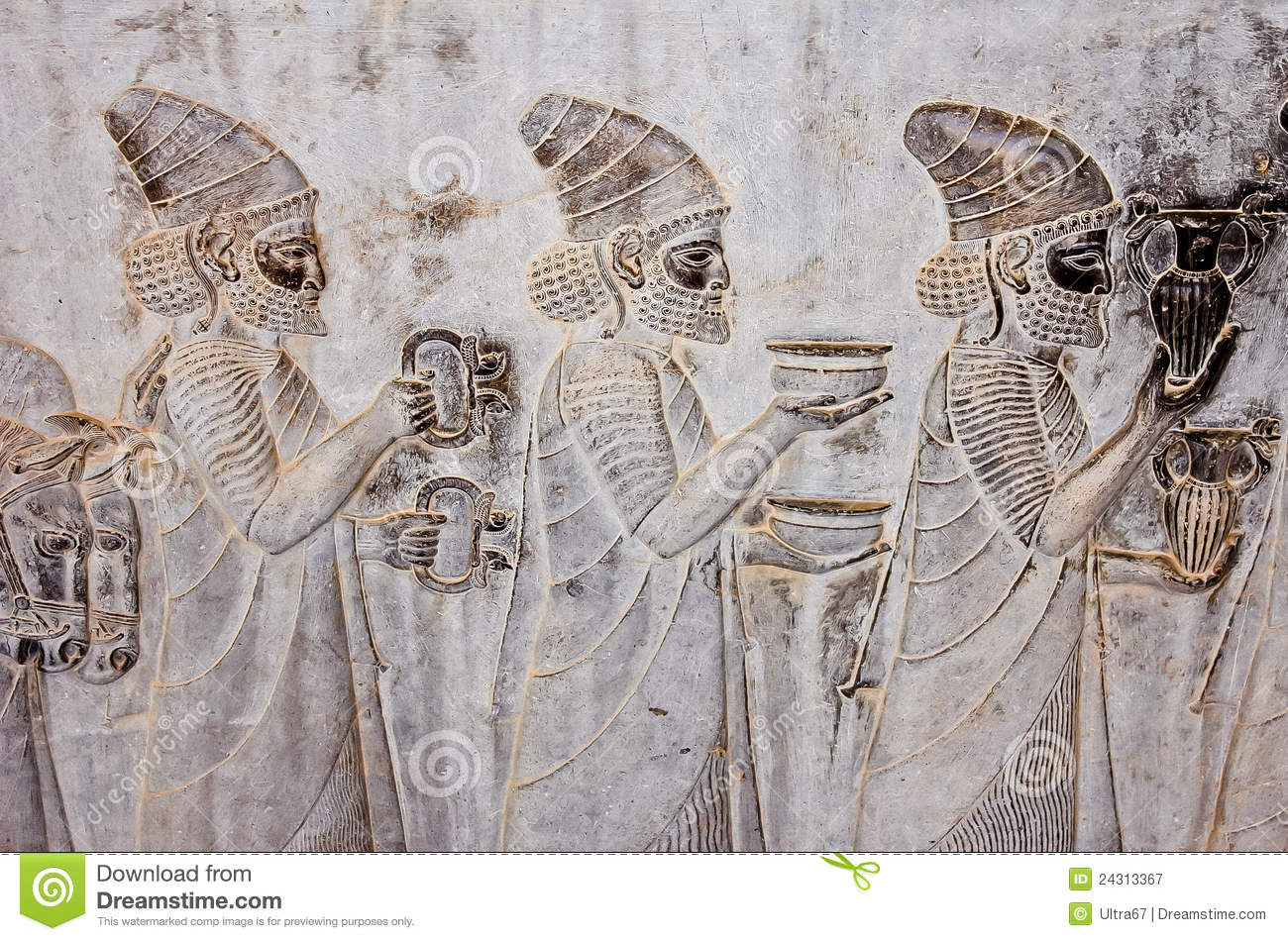 Ancient bas reliefs of persepolis stock image