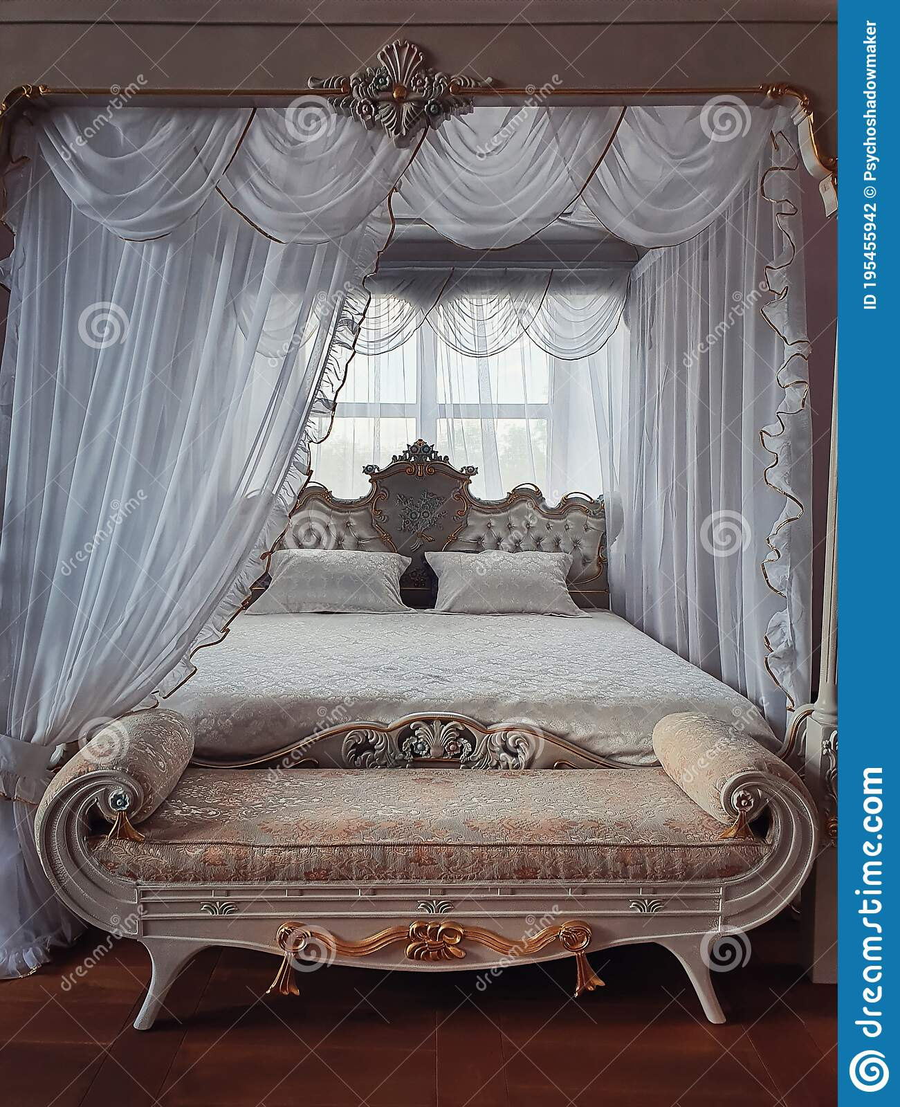Ancient Bedroom Furniture Style Medieval King Bed Near The Window White Curtains Canopy And Gold Details Close Up Background Stock Photo Image Of European Landmark 195455942