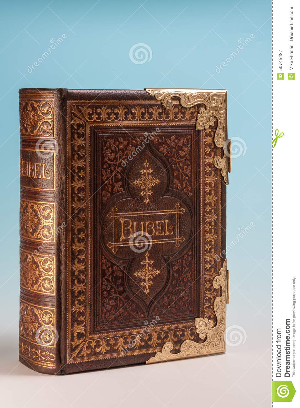 Vintage Leather Look Jeremiah Verse Bible Book Cover Large: Ancient Bible Stock Photo