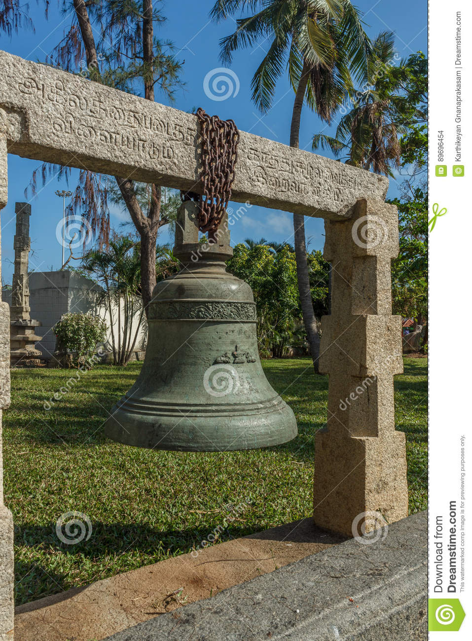 Ancient Big Bronze And Iron Bell With Carvings Hanging From A