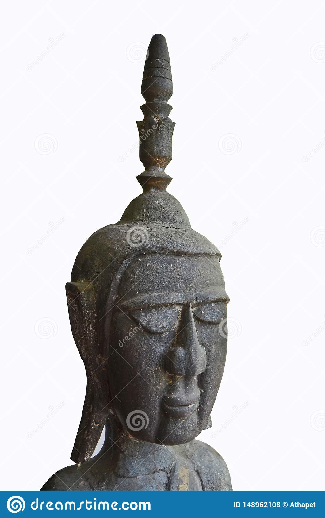 Ancient black craven wooden Buddha image