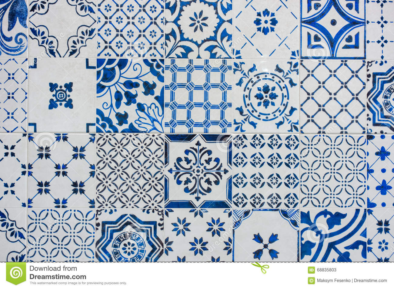 Ancient Blue And White Tile Work Azulejos Stock Image