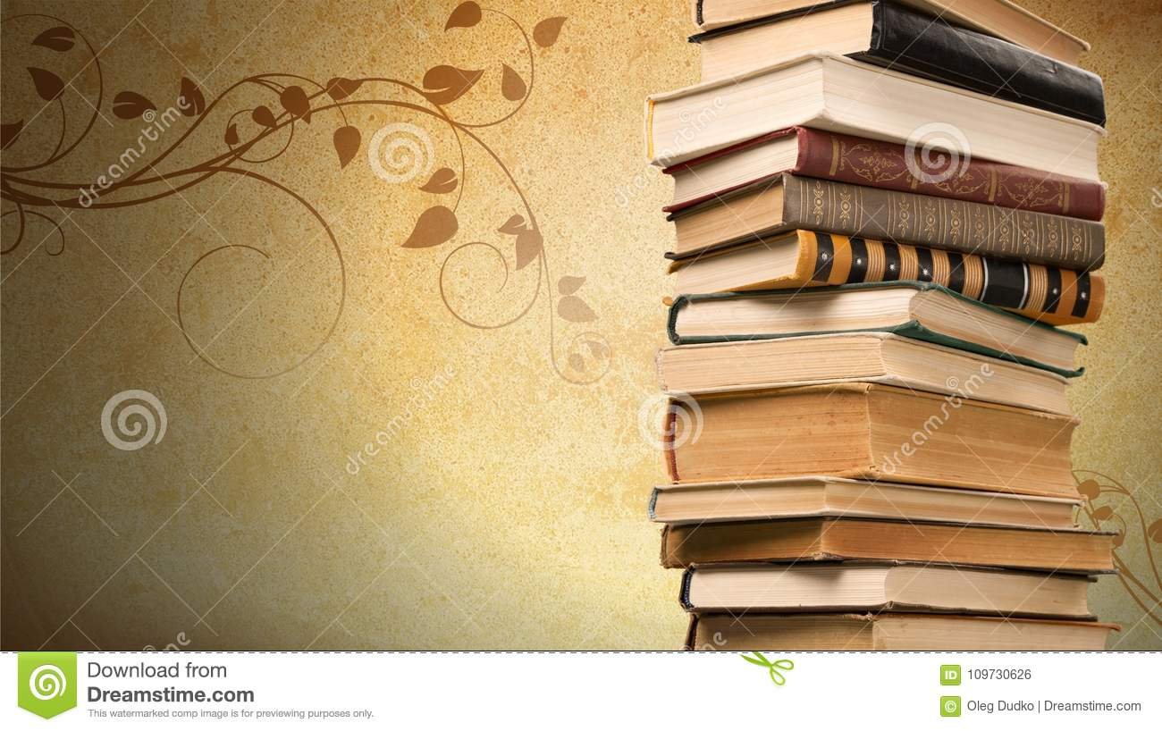 Old Books On Dark Background Stock Photo - Image of brown, tilt ...