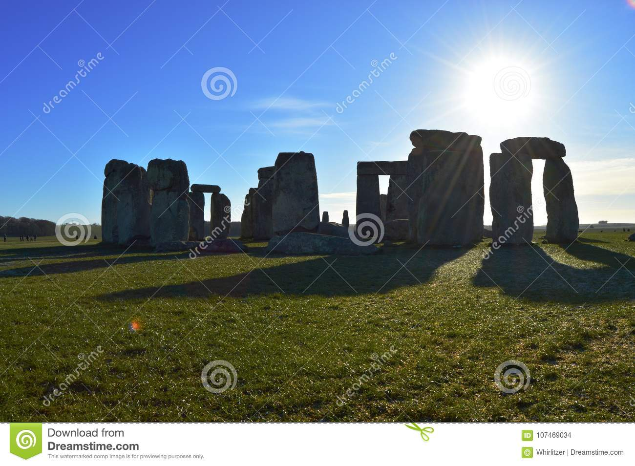Stonehenge casting a shadow in the sun