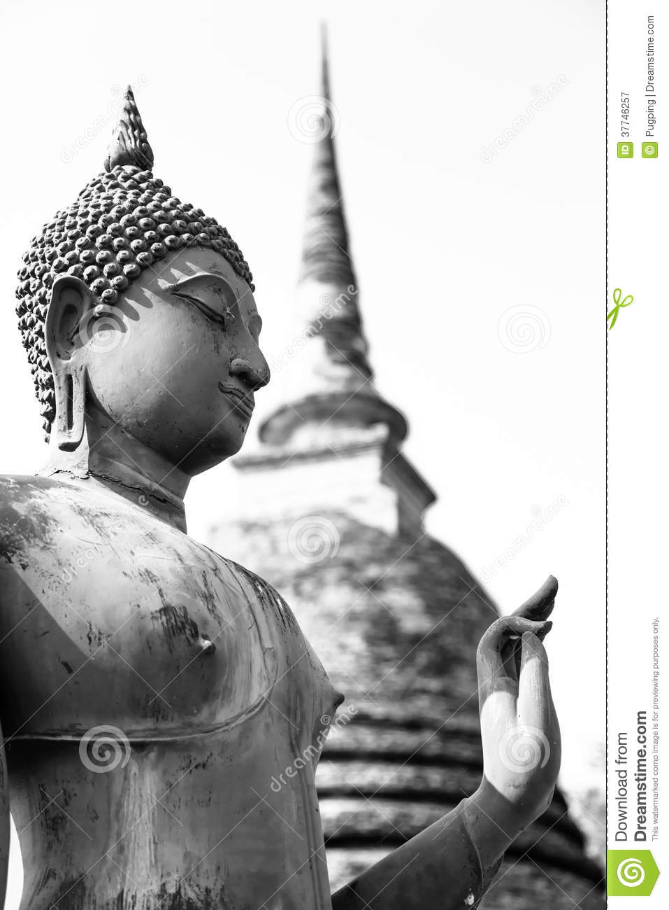 An ancient Buddha image, black and white