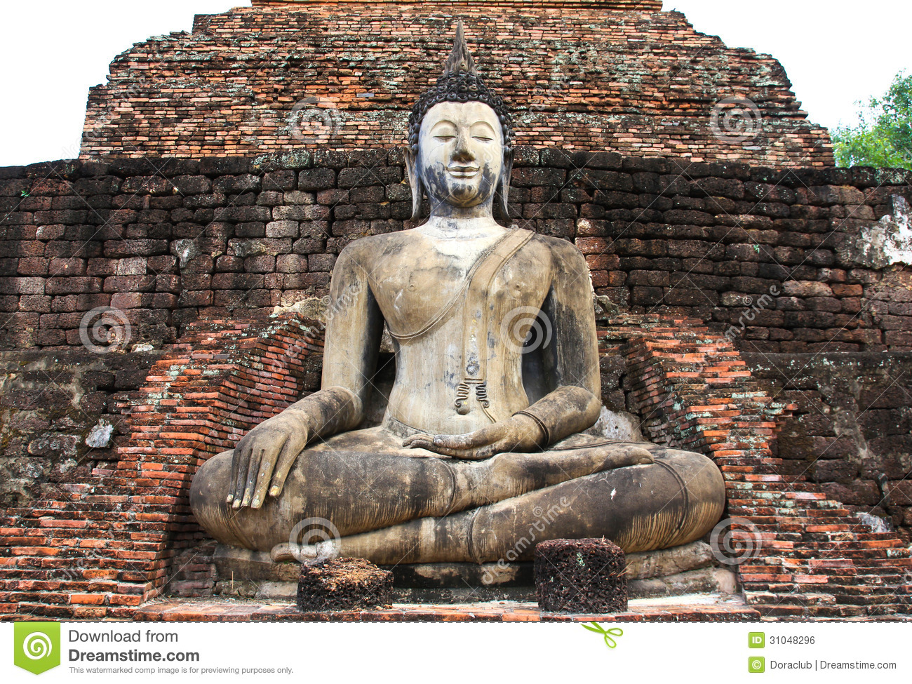 Ancient Buddha Statue. Sukhothai Historical Park. Royalty Free Stock ...