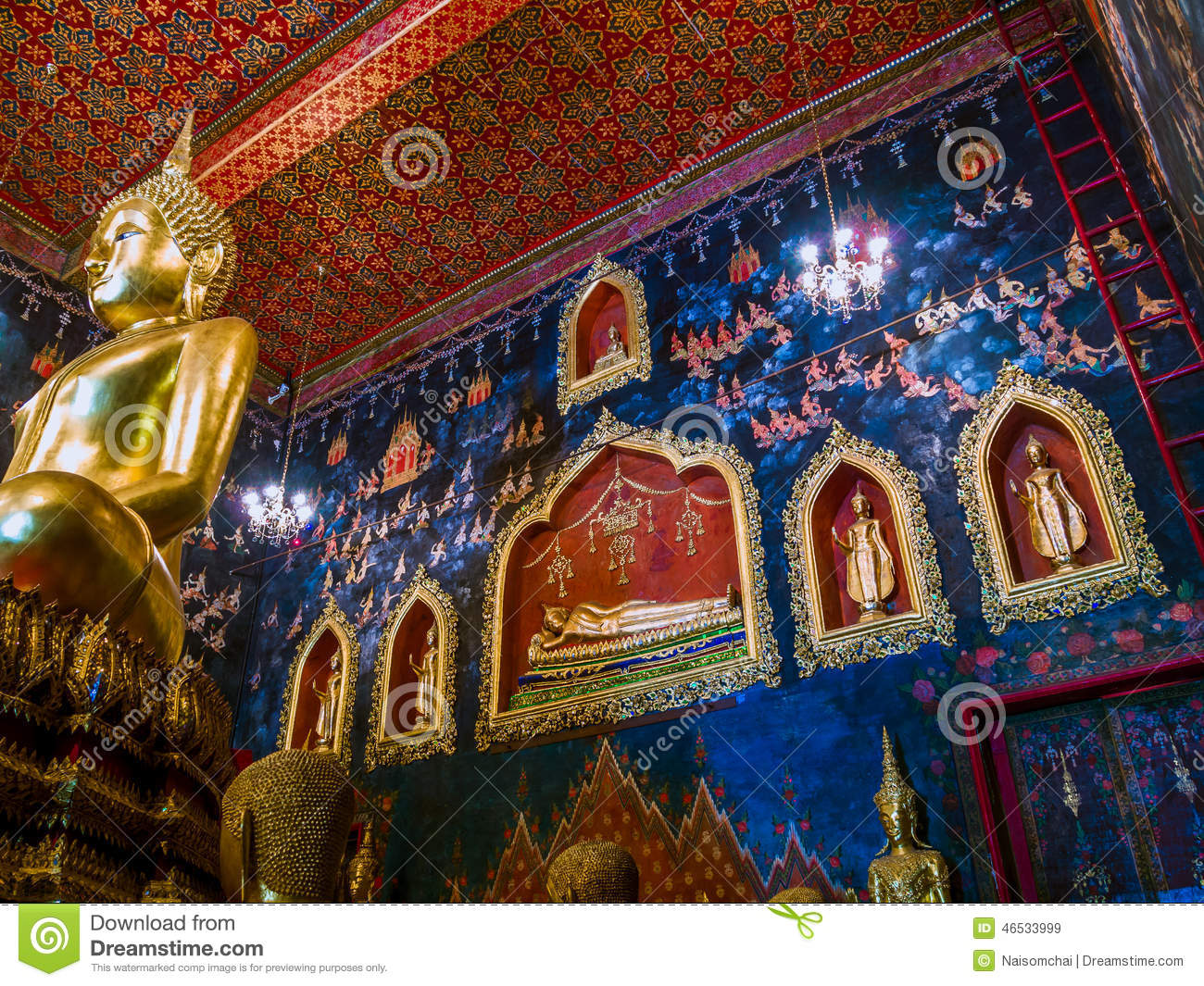 Ancient buddha statue in thailand with mural painting for Buddha mural art