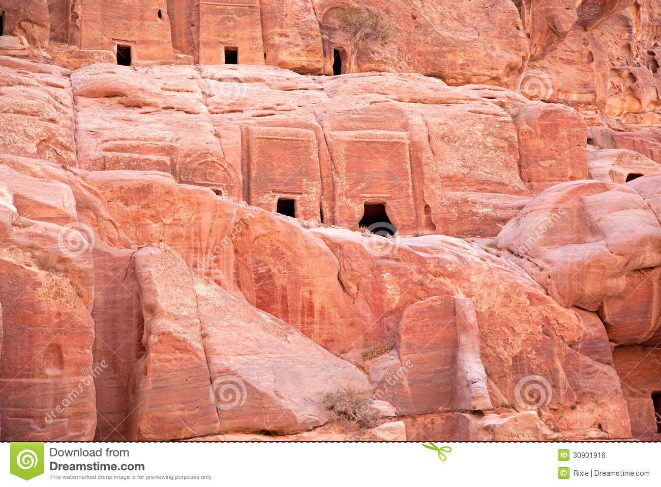 Ancient buildings in petra royalty free stock image