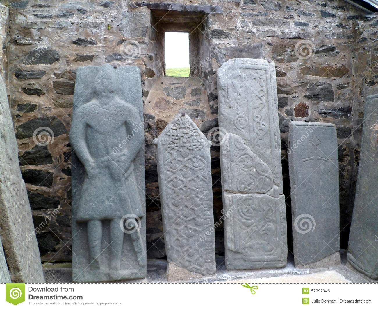 Ancient carved scottish tombstones stock photo image