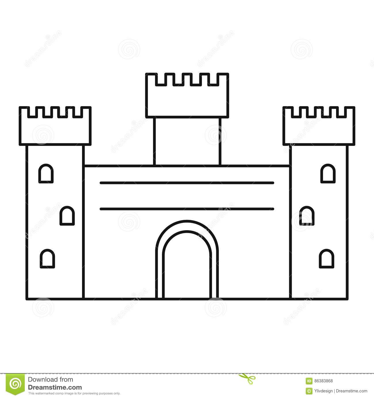 Ancient Castle Icon Outline Style