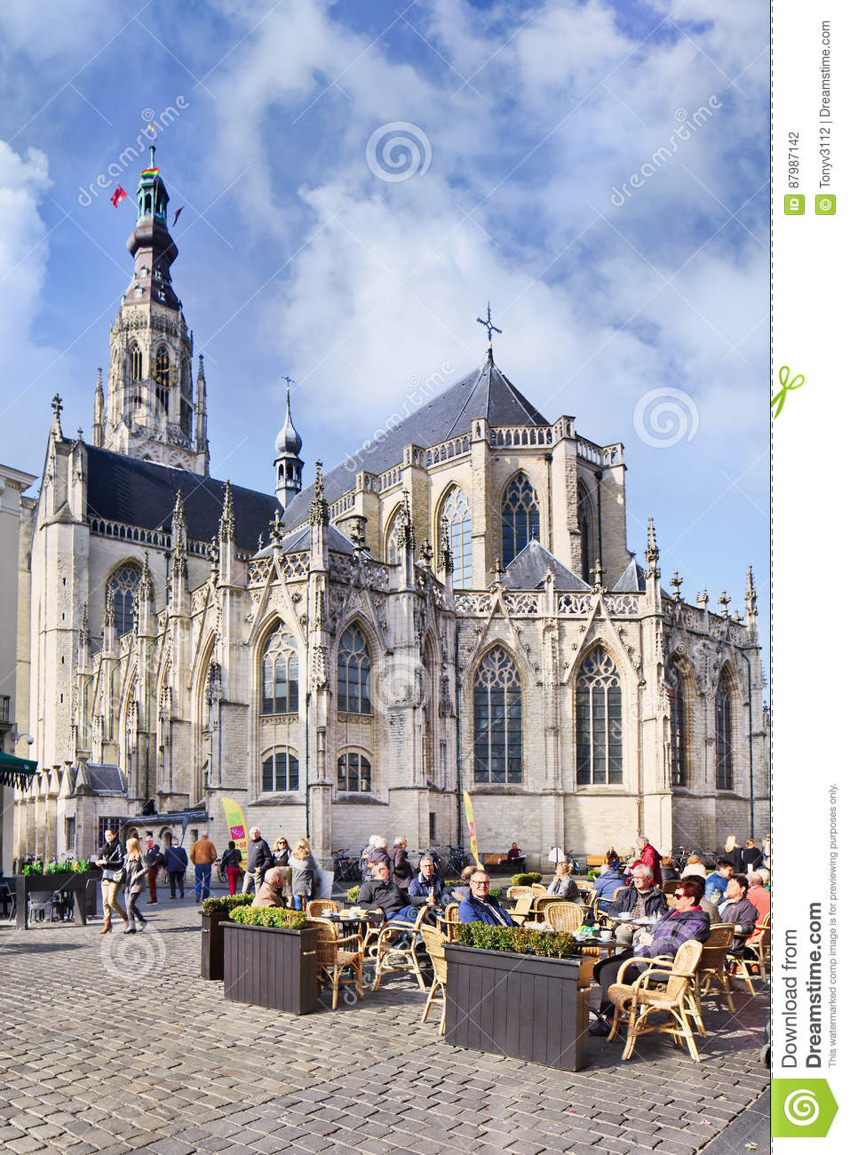 Download Ancient Cathedral With People On Terraces Breda Netherlands Editorial Photography