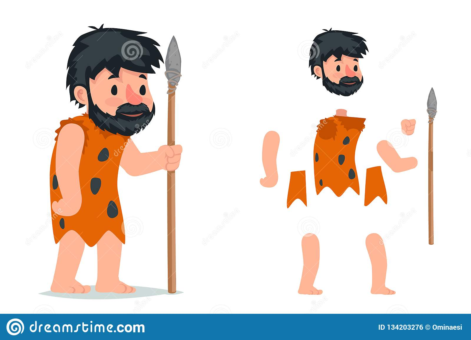 Ancient Caveman With Stone Spear Action RPG Game Character Layered