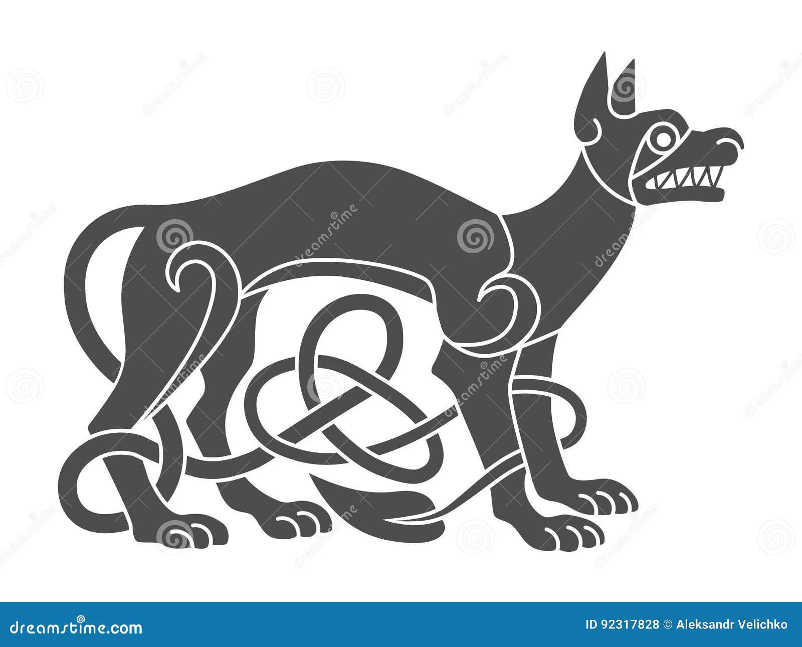 Ancient Celtic Mythological Symbol Of Wolf Dog Vector Knot Stock