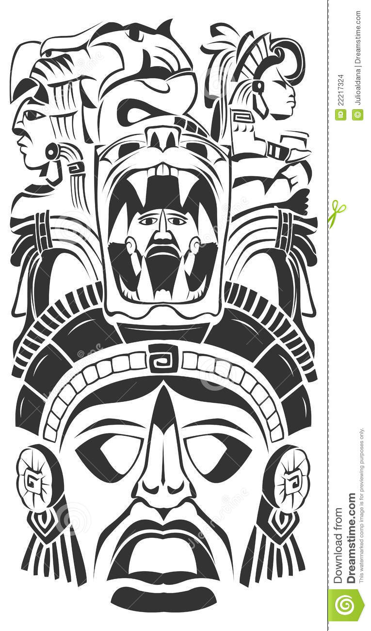 Vector mask mexican mayan aztec motifs symbol vector for Aztec mask template
