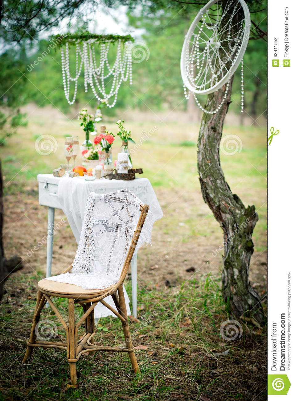 Ancient chair against wedding decoration in style of a for Ancient decoration