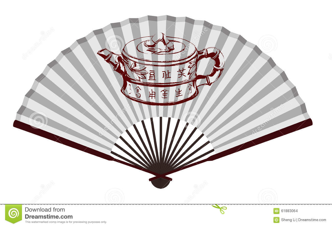 Ancient Chinese Fan With Teapot Stock Vector - Image: 61883064
