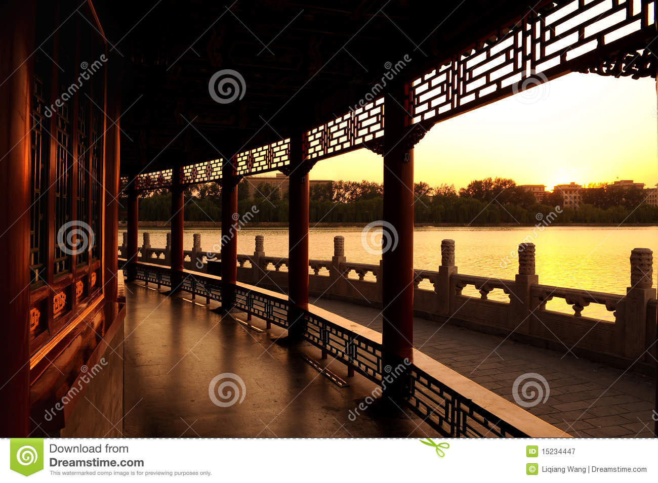 Ancient Chinese Garden Gallery Stock Image - Image of windows ...