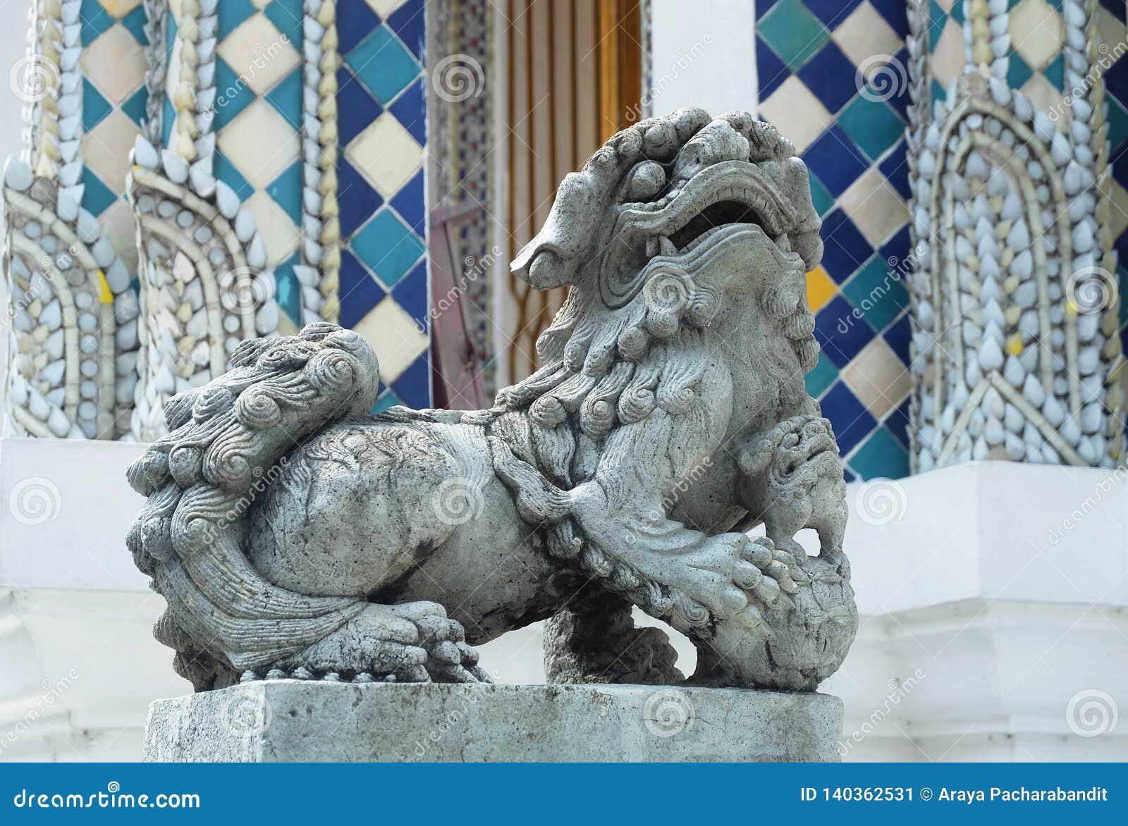 Lion Sculpture in Wat Phra Kaew at Bangkok, Thailand