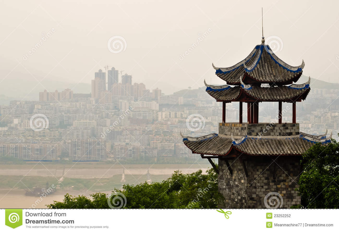 Ancient Chinese Pagoda Against A Modern Skyline Stock