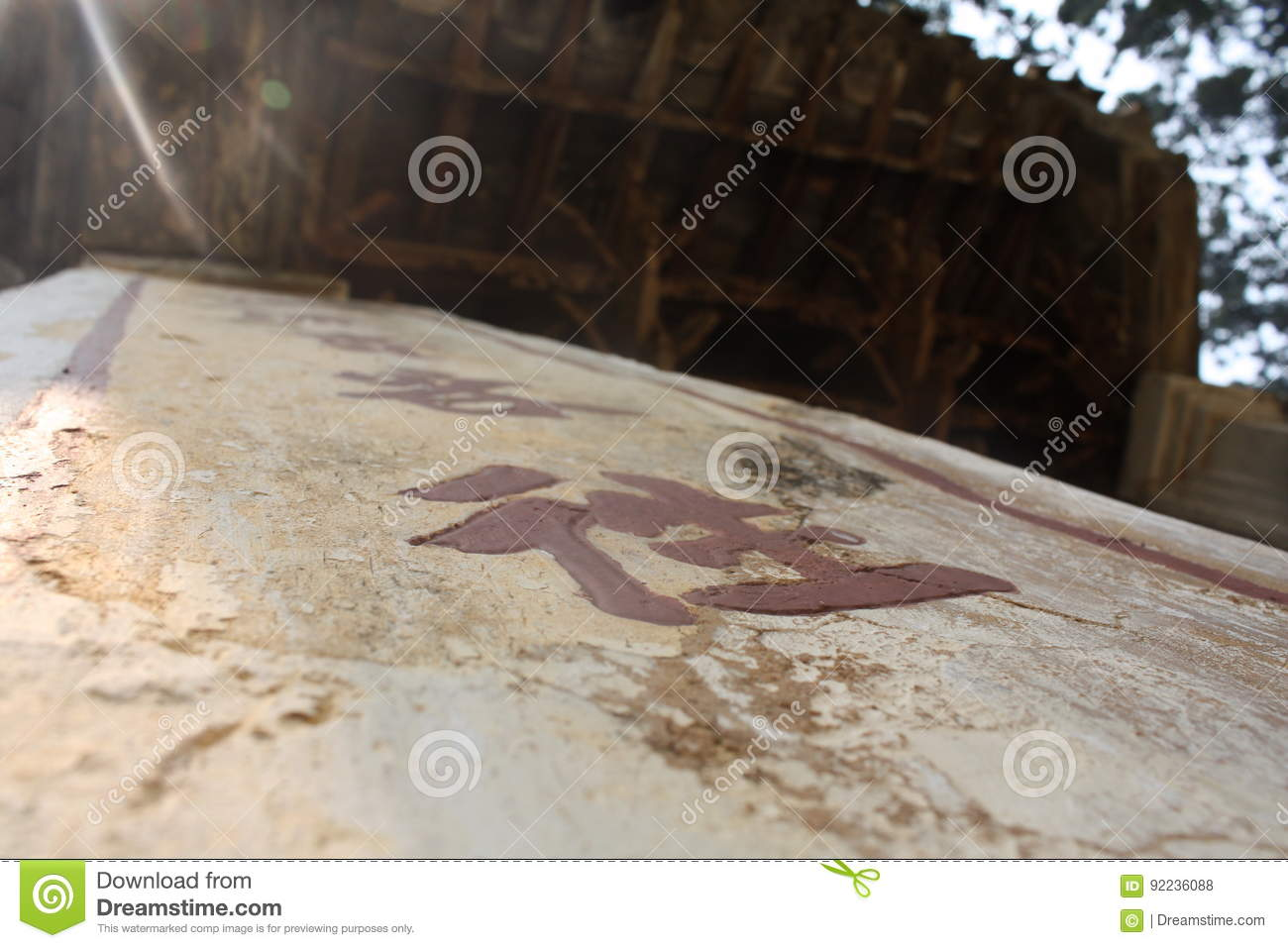 Ancient Chinese Symbols in a Buddhist Temple in Asia